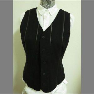 Sz M Black Leather Trim Womens #07H Suit Vest